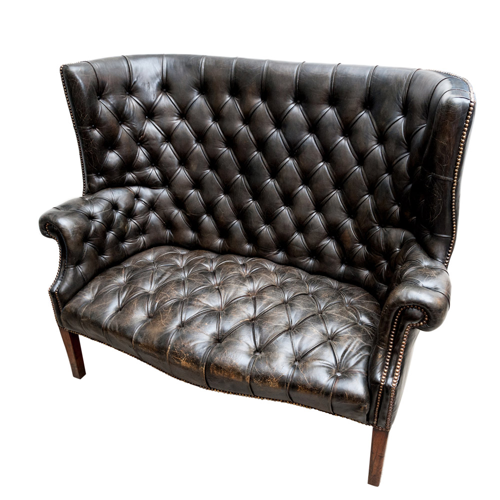 General Store Ltd Chairs Leather Deep Buttoned Wing Sofa